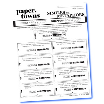 PAPER TOWNS Figurative Language Bundle