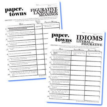 PAPER TOWNS Figurative Language