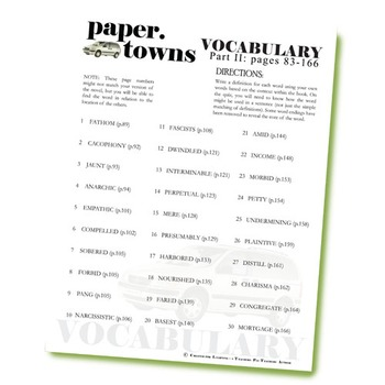 PAPER TOWNS Vocabulary List and Quiz (Part II: pgs 83-166)