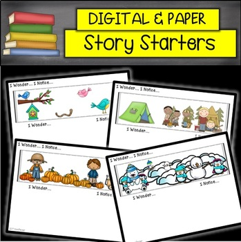 DIGITAL and PRINTABLE I Wonder, I Notice Story Starters for MATH and WRITING