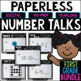 First Grade PAPERLESS Number Talks- A YEARLONG BUNDLE