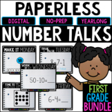 First Grade PAPERLESS Number Talks- A YEARLONG BUNDLE