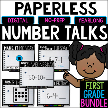 DISTANCE LEARNING First Grade PAPERLESS Number Talks- A YEARLONG BUNDLE