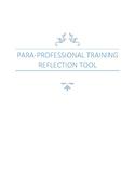 PARA-PROFESSIONAL TRAINING REFLECTION TOOL