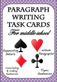 PARAGRAPH TASK CARDS - Topic + Linking Sentences, Supporting Details