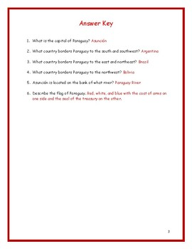PARAGUAY - Printable handouts with map and flag to color
