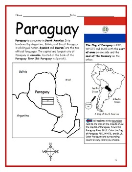 PARAGUAY - Printable handout with map and flag