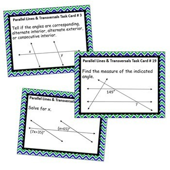 PARALLEL LINES AND TRANVERSAL BUNDLE - Task Cards, Graphic Organizers, Puzzles