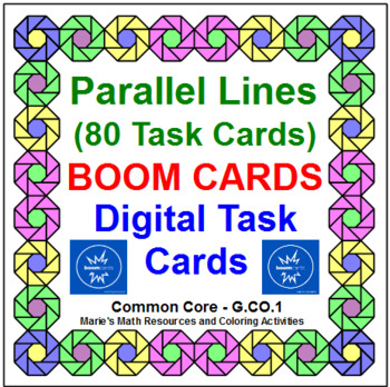 """PARALLEL LINE ANGLE PAIRS: """"DIGITAL"""" BOOM CARDS (75 TASK CARDS)"""