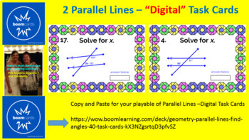 """PARALLEL LINE ANGLE PAIRS: """"DIGITAL"""" BOOM CARDS (80 TASK CARDS)"""