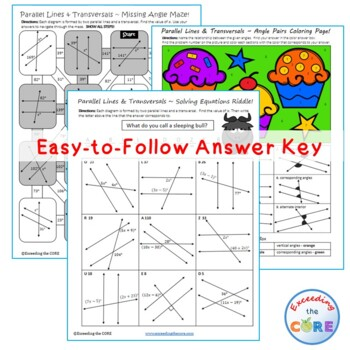 PARALLEL LINES and TRANSVERSAL Maze, Riddle, Coloring Page ~ Fun MATH Activities