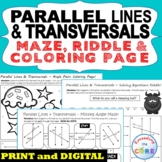 PARALLEL LINES and TRANSVERSAL Maze, Riddle, Color by Number Fun MATH Activities