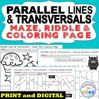 Parallel Lines & Transversals Maze, Riddle, Coloring Page