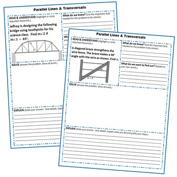 PARALLEL LINES and TRANSVERSAL Word Problems with Graphic Organizers