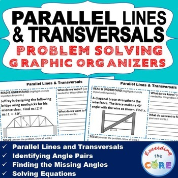 PARALLEL LINES and TRANSVERSAL Word Problems with Graphic