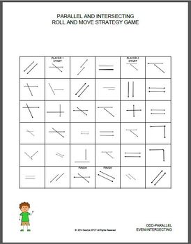 PARALLEL and INTERSECT Roll and Move Strategy Game 4th Grade VIRGINIA SOL