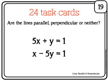 PARALLEL and PERPENDICULAR LINES - task cards