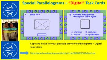 """PARALLELOGRAM PROPERTIES:  """"DIGITAL"""" BOOM CARDS (2 SETS OF TASK CARDS)"""