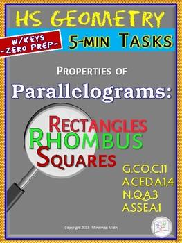 PARALLELOGRAMS: Properties  (Geometry Curriculum in 5 min tasks - Unit 16)