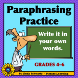 PARAPHRASING PRACTICE • USING SCIENCE TOPICS