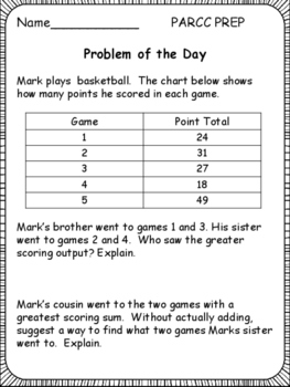 PARCC 3rd Grade TEST PREP: Problem of the Day