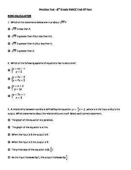 PARCC 8th Grade EOY Practice test