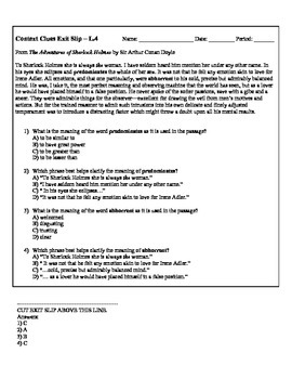 Common Core Test Prep Exit Slips - CONTEXT CLUES - Grades 9-10