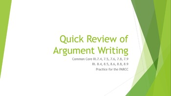 Test Prep Argument Persuasive writing review graphic organizer 6 7 8 9 10 11