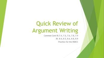 Test Prep Argument Persuasive writing review graphic organ
