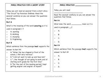 PARCC Bundle Practice Templates