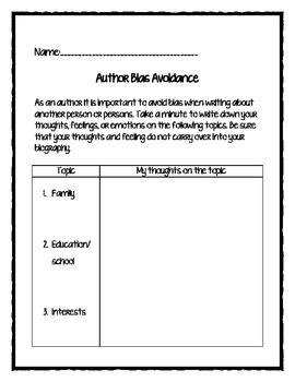PARCC/CC Aligned Biography Writing Packet