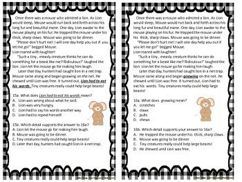 PARCC Common Core Reading Test Prep EBSR Part A Part B Fairy Tales