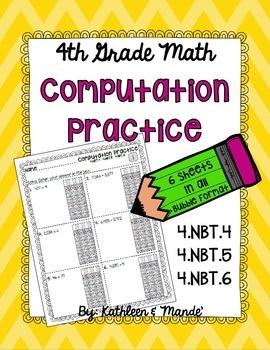 4.NBT Computation Practice: PARCC Bubble Format {4.NBT.4, 4.NBT.5, 4.NBT.6}
