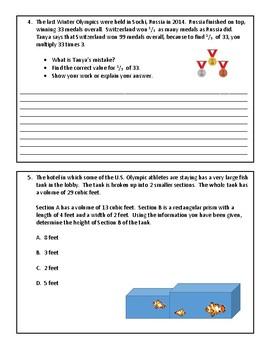 PARCC Format 2018 Winter Olympics Math Practice - Grade 5
