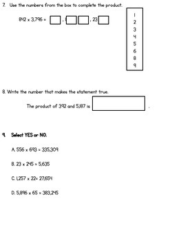 PARCC-LIKE Multiply Whole Numbers