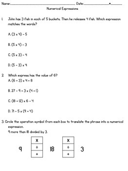 PARCC-LIKE Numerical Expressions