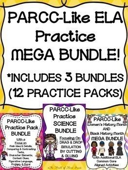 PARCC-Like ELA Practice MEGA BUNDLE! (INCLUDES 3 BUNDLES & 12 PRACTICE PACKS)