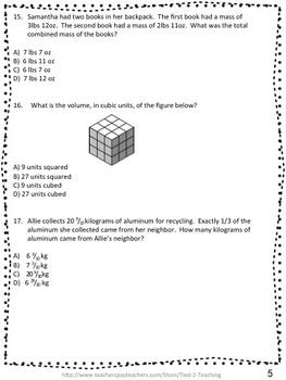 5th grade Math Test Prep assesment