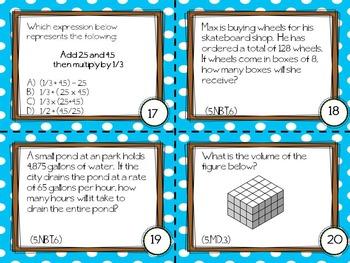 Math Test Prep Task Cards (5th Grade)