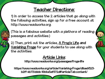 PARCC-Like Practice #12: ELA-- FROG LIFE CYCLE and VANISHING FROGS