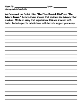 PARCC Literary Analysis Task (Grade 3)