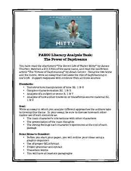 "PARCC Literary Analysis Task Writing Prompt: Daydreaming and ""Walter Mitty"""