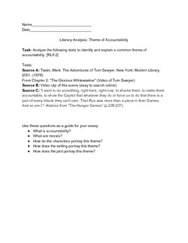 COMMON CORE TEST PREP: Literary Analysis: Theme of Accountability