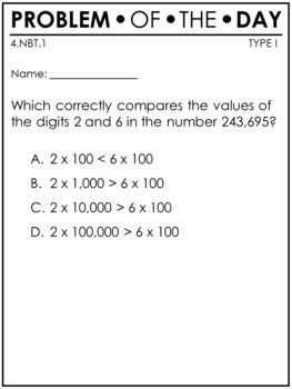 PARCC Math 4th Grade NBT Standards