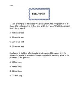 PARCC Math Bellwork Part 1