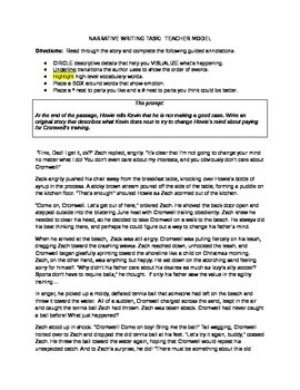 PARCC Narrative Writing Task Teacher Model for Middle School