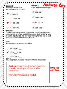 PARCC Practice MATH - Addition and Subtraction - Common Core Aligned