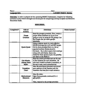 PARCC Prep Review Activities