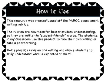 PARCC Student-Friendly Rubric Grade 3!