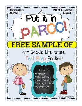 PARCC Test Prep Pack for 4th Grade Literature: Freebie Sample!